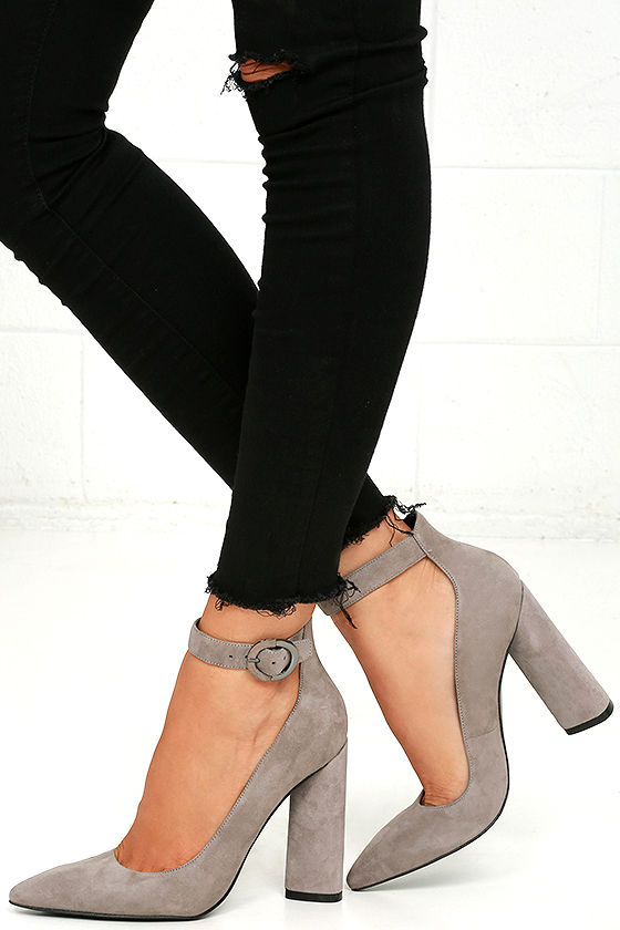 Kendall + Kylie Gloria Light Grey Suede Leather Heels 1