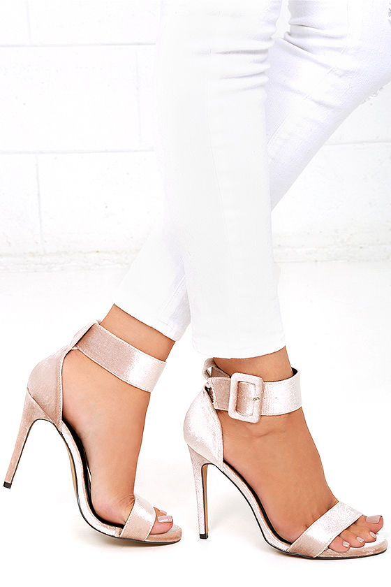 Love and Luck Nude Velvet Ankle Strap Heels 1