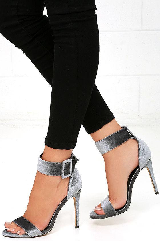 Sexy Grey Heels - Velvet Heels - Ankle Strap Heels - $32.00