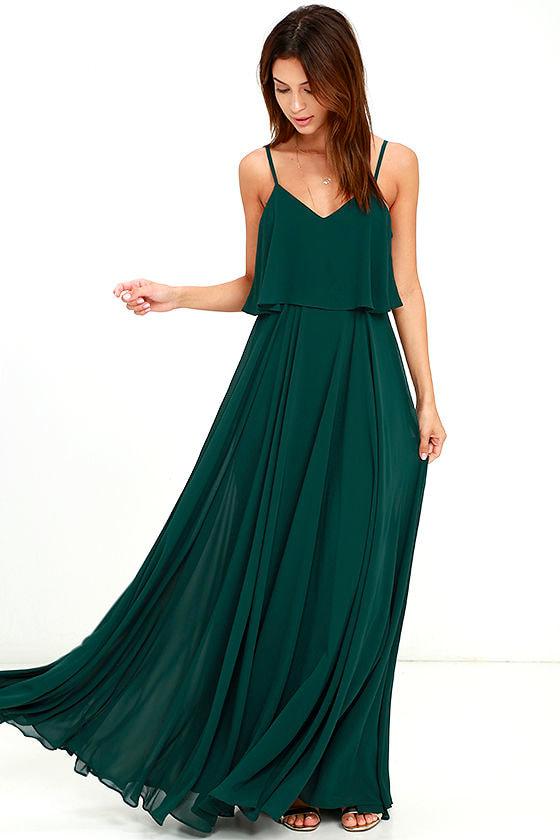 Stunning forest green dress maxi dress gown for Forest green wedding dress