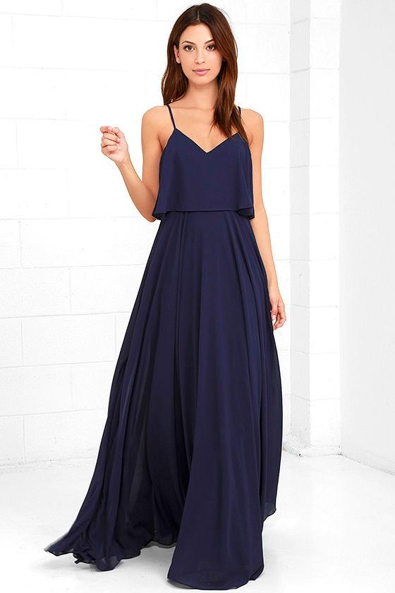 Stunning Navy Blue Dress - Maxi Dress - Gown - $78.00