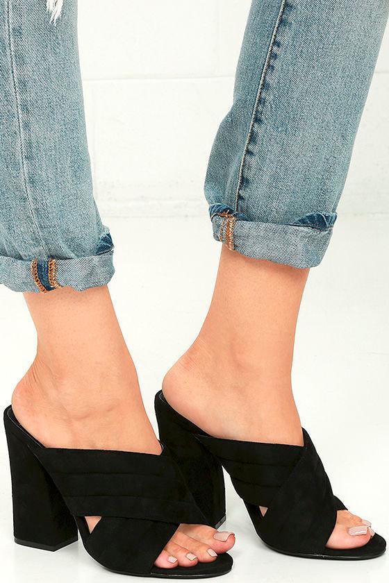 Black Vegan Suede Heels - Black Mules