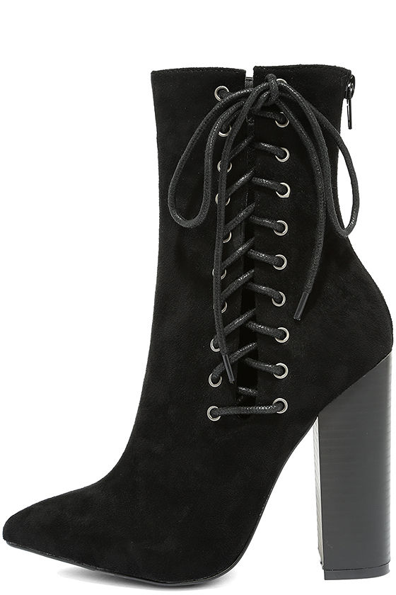 662fa9d97e5 Sexy Black High Heel Boots - Lace-Up Boots - Mid-Calf Boots -  39.00