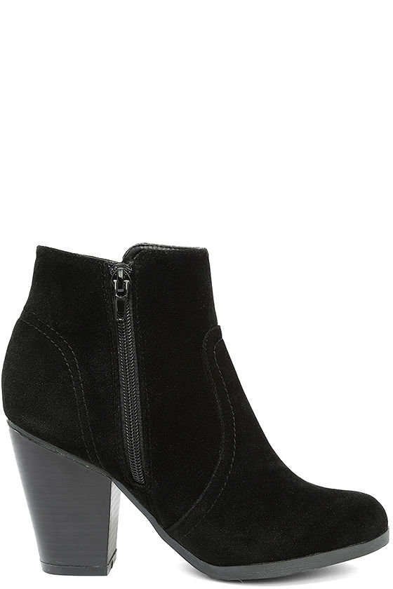 Cute Black Booties - Vegan Suede Booties - Ankle Booties - $27.00
