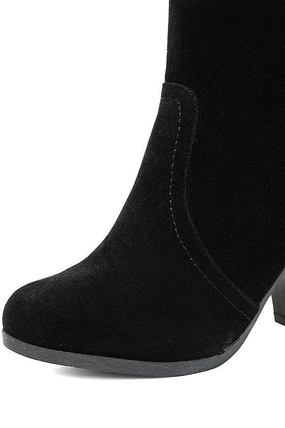Aubrey Black Suede Ankle Booties 6