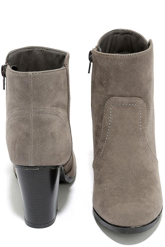 Aubrey Grey Suede Ankle Booties 3