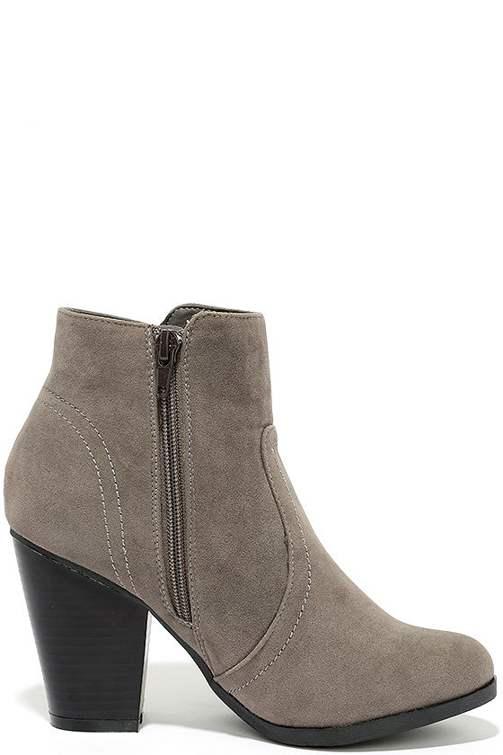 Cute Grey Booties - Vegan Suede Booties - Ankle Booties - $27.00