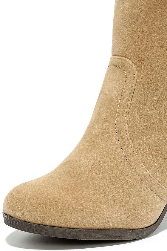 Aubrey Beige Suede Ankle Booties 6