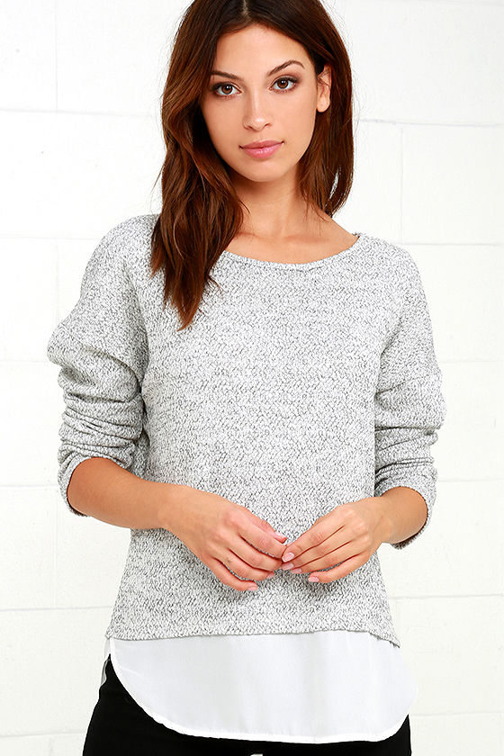 5417c26aef99 Cute Grey Sweater Top - Marl Knit Top - Chiffon Sweater Top - $36.00