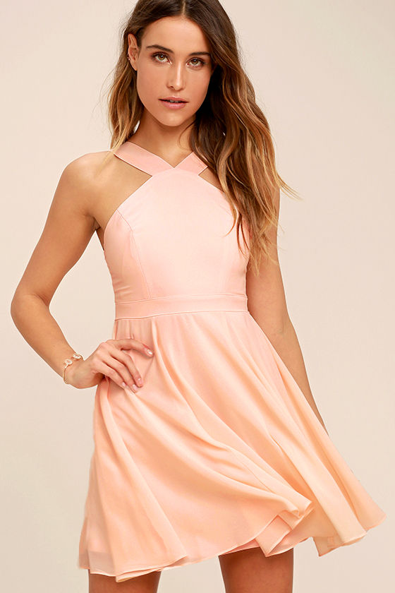 Peach Dress - Halter Dress - Skater Dress - Bridesmaid Dress