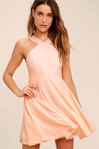 5d0652bae3b Forevermore Peach Skater Dress