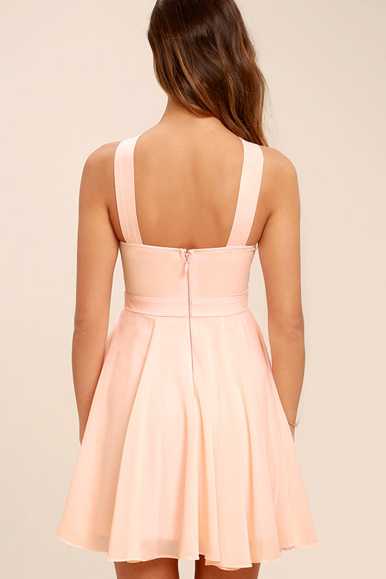 Forevermore Peach Skater Dress 4