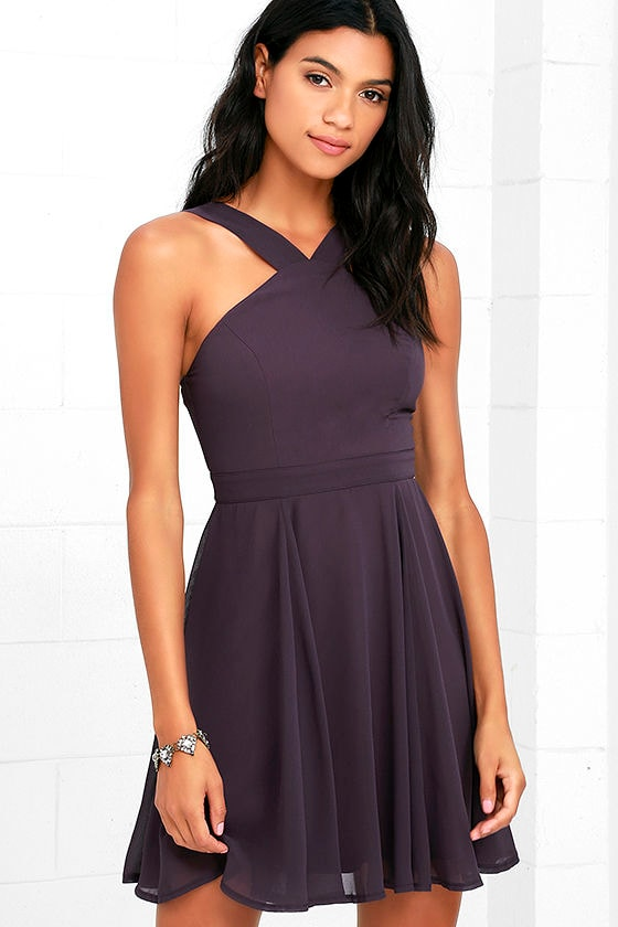 Forevermore Dusty Purple Skater Dress 1