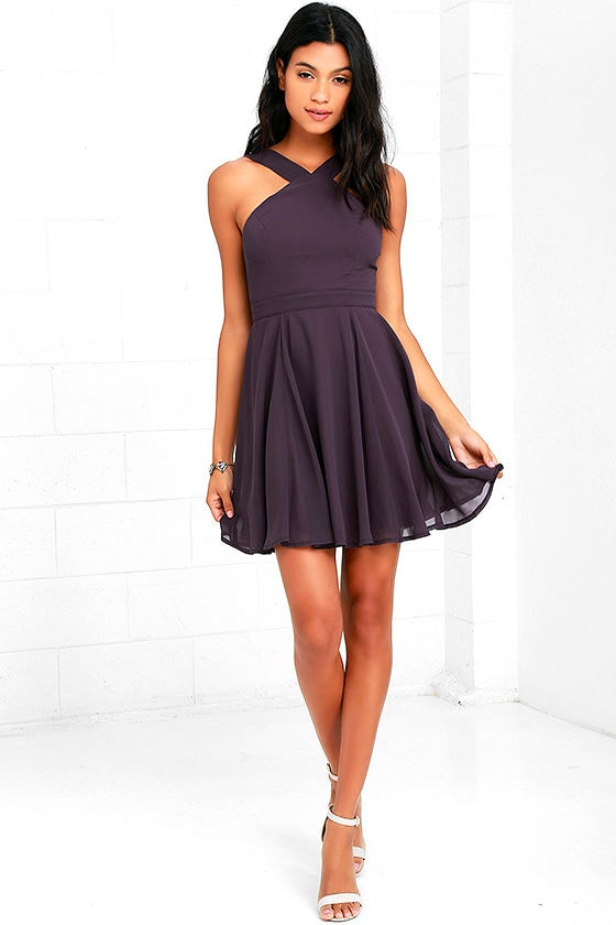 Forevermore Dusty Purple Skater Dress 2