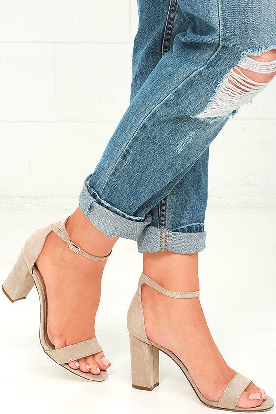 Cute Blush Heels - Ankle Strap Heels