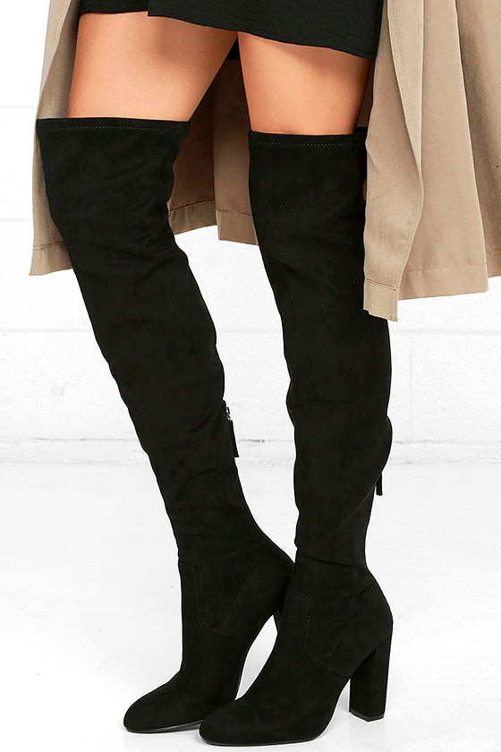 Steve Madden Emotions Boots - Black Over the Knee Boots - Suede ...