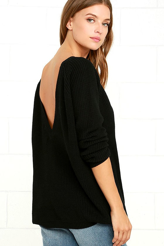 Just For You Black Backless Sweater 1