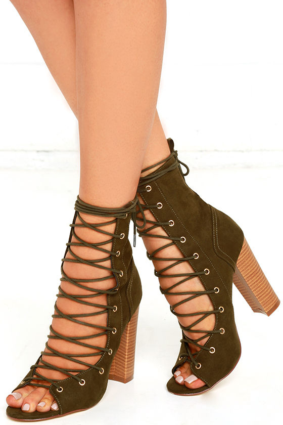 00a1cab4c0b8 Sexy Olive High Heel Booties - Lace-Up Booties - Green Mid-Calf Boots -   35.00