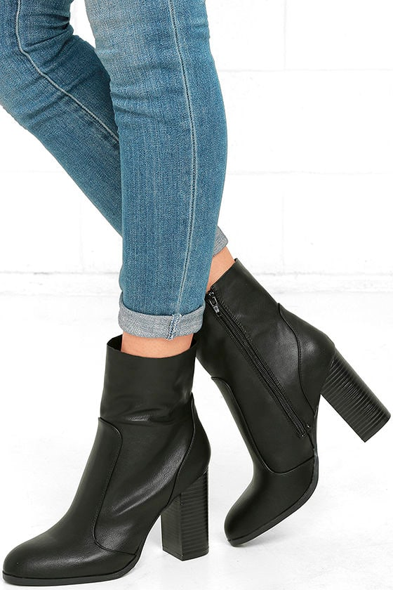 e0ef92a07e3 Chic Black Mid-Calf Boots - High Heel Boots - Vegan Leather Boots -  39.00
