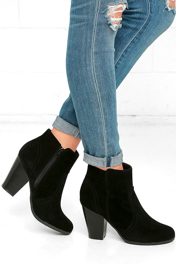 Aubrey Black Suede Ankle Booties 1