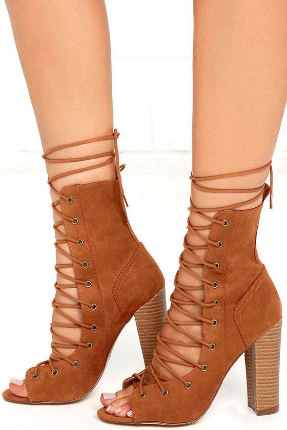 Sexy Tan High Heel Booties - Lace-Up Booties - Tan Mid-Calf Boots ...