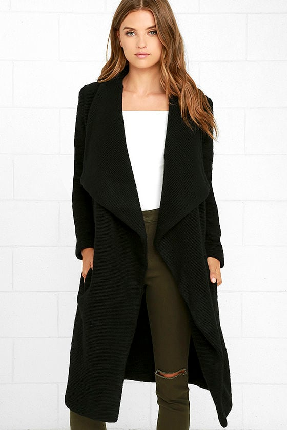 BB Dakota Camila Coat - Black Coat - Wool Coat - Open Front Coat