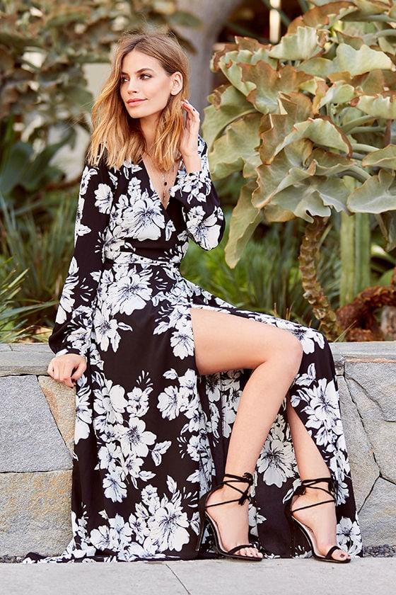 22c13ddc384477 Beautiful Black Floral Print Dress - Maxi Dress - Wrap Dress - Long ...