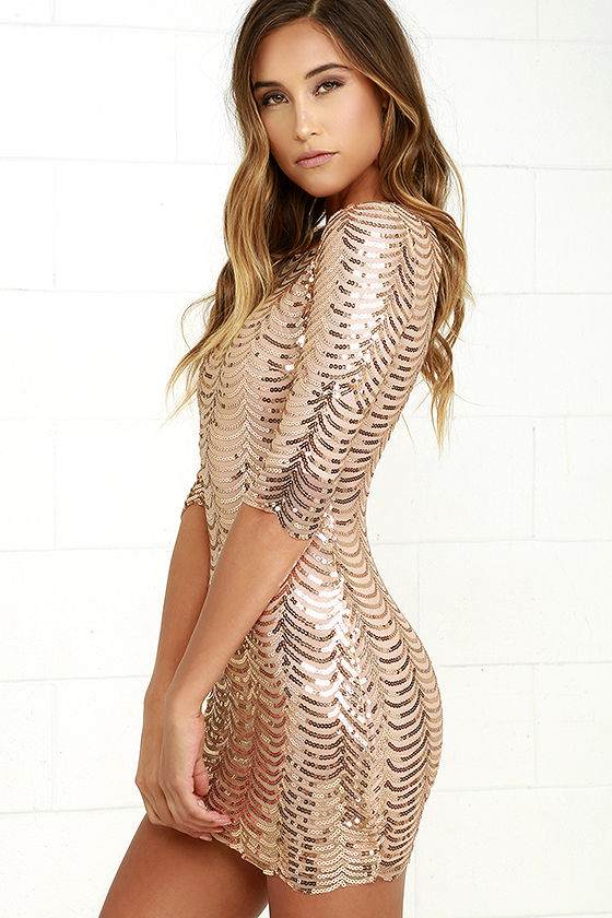 Lovely Gold Dress - Gold Sequin Dress - Bodycon Dress - $64.00