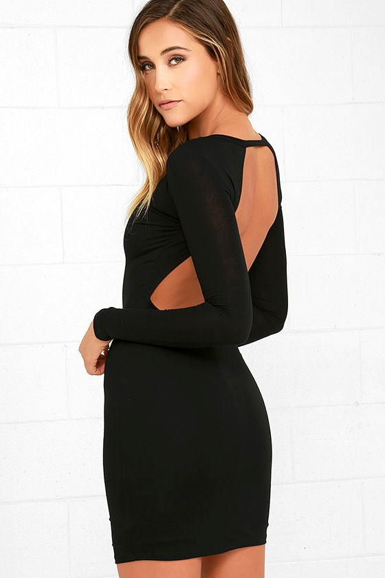 Sexy Black Dress - Long Sleeve Dress - Bodycon Dress - Backless ...