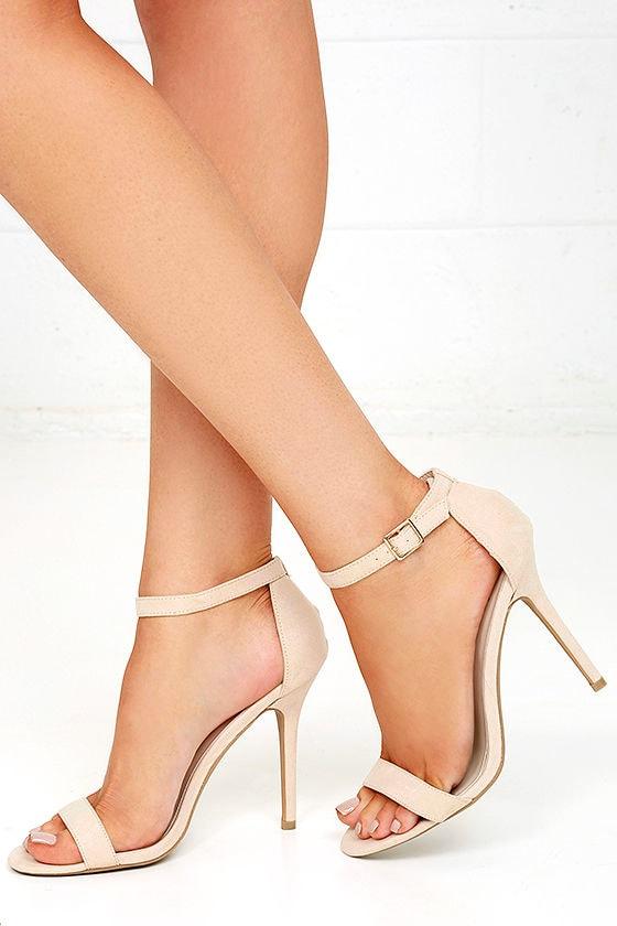 LULUS Elsi Bone Single Strap Heels 2