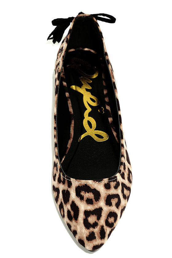 Just Like That Camel Leopard Suede Cutout Flats 5