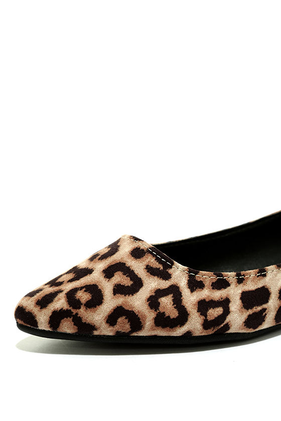 Just Like That Camel Leopard Suede Cutout Flats 6