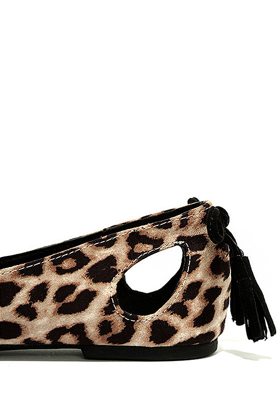 Just Like That Camel Leopard Suede Cutout Flats 7