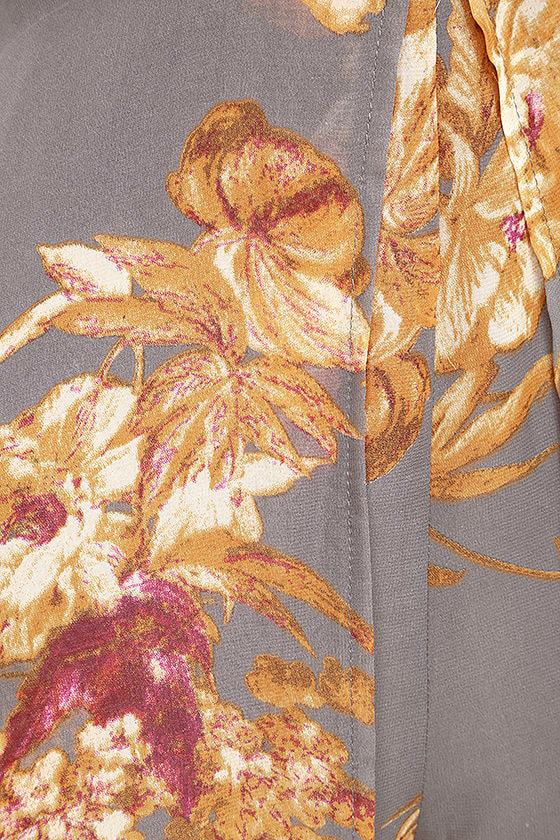 Fine and Dandelion Grey Floral Print Romper 7