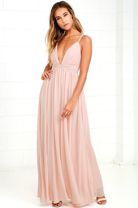 Blush Pink Dress - Maxi Dress - Blush Pink Gown - $86.00