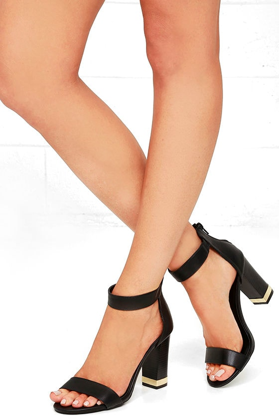 Chic Black Heels - Black and Gold Heels - Ankle Strap Heels ...