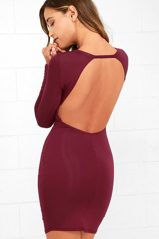 Sexy Wine Red Dress - Long Sleeve Dress - Bodycon Dress - Backless ...