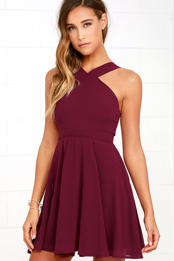 Lovely Burgundy Dress - Halter Dress - Skater Dress - Bridesmaid ...