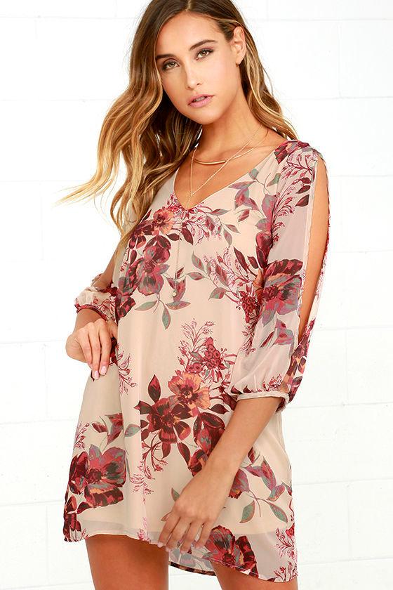 f9d9c21fe6b Beige Shift Dress - Cold Shoulder Dress - Floral Print Dress