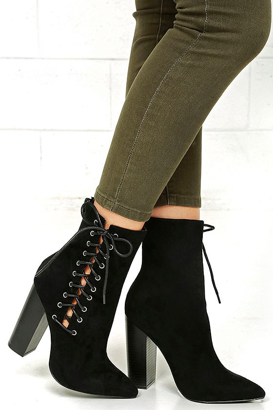 81e1a3c2c809 Sexy Black High Heel Boots - Lace-Up Boots - Mid-Calf Boots -  39.00
