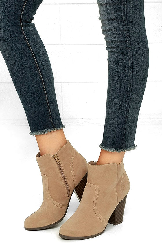 8a3640e331bfa Cute Beige Booties - Vegan Suede Booties - Ankle Booties -  27.00