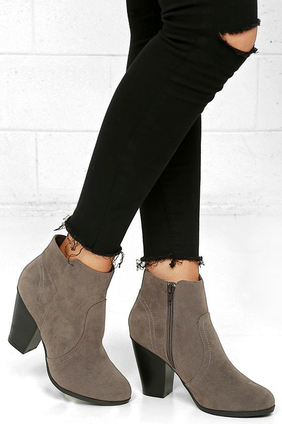 Aubrey Grey Suede Ankle Booties 1