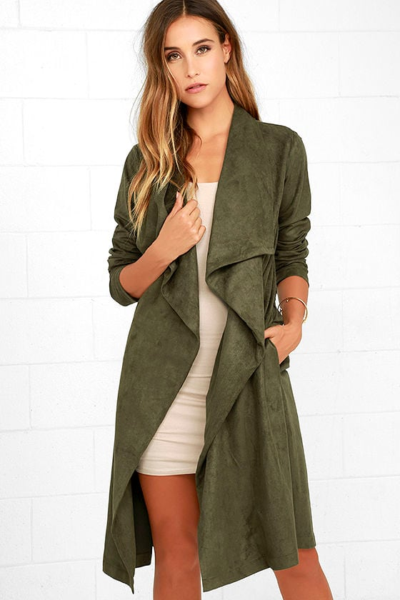 Luxe Olive Green Coat Green Suede Jacet Vegan Suede