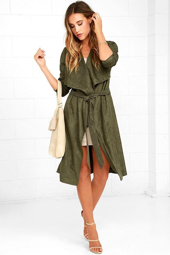 24b45c8411525 Luxe Olive Green Coat - Green Suede Jacet - Vegan Suede Coat -  74.00