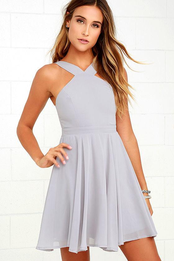 9340ba35a4330 Forevermore Grey Skater Dress. Forevermore Grey Skater Dress Lulus