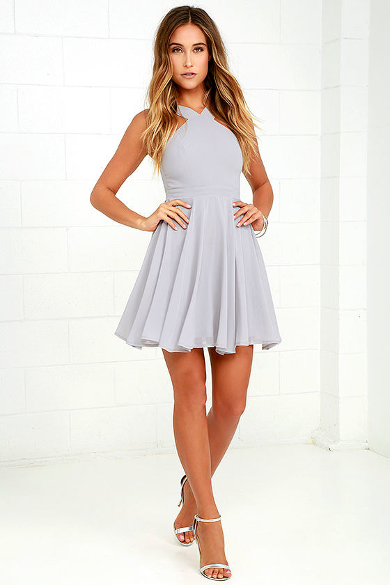 Forevermore Grey Skater Dress 2