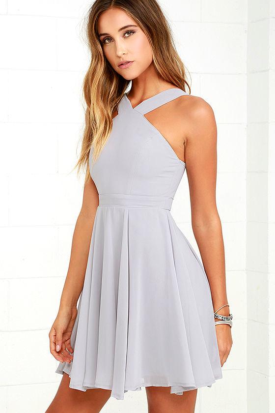 Forevermore Grey Skater Dress 3