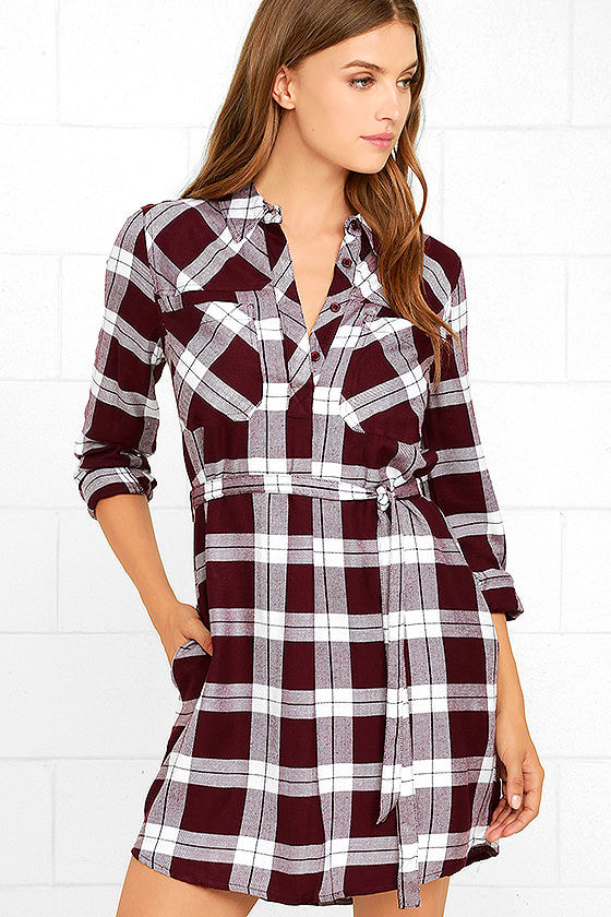 Cute Burgundy Plaid Dress Long Sleeve Dress Shirt