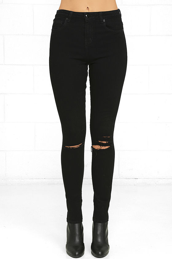 Obey Slasher Black Distressed Ankle Skinny Jeans 3