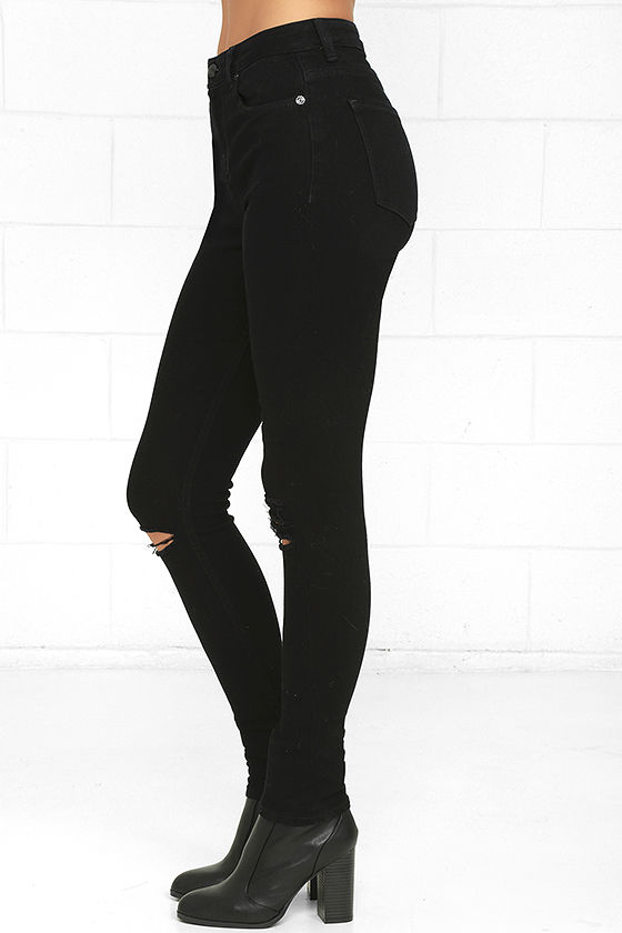 Obey Slasher Black Distressed Ankle Skinny Jeans 4